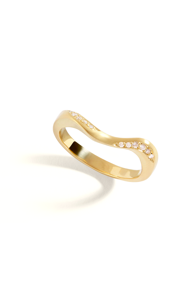 La Seine 18ct Gold Chain Ring with Diamonds - Adriana Chede Jewellery