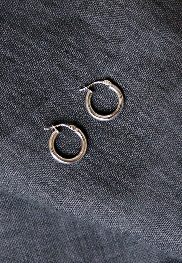 White 9ct Gold Mini Creole Hoops - Adriana Chede Fine Jewellery London