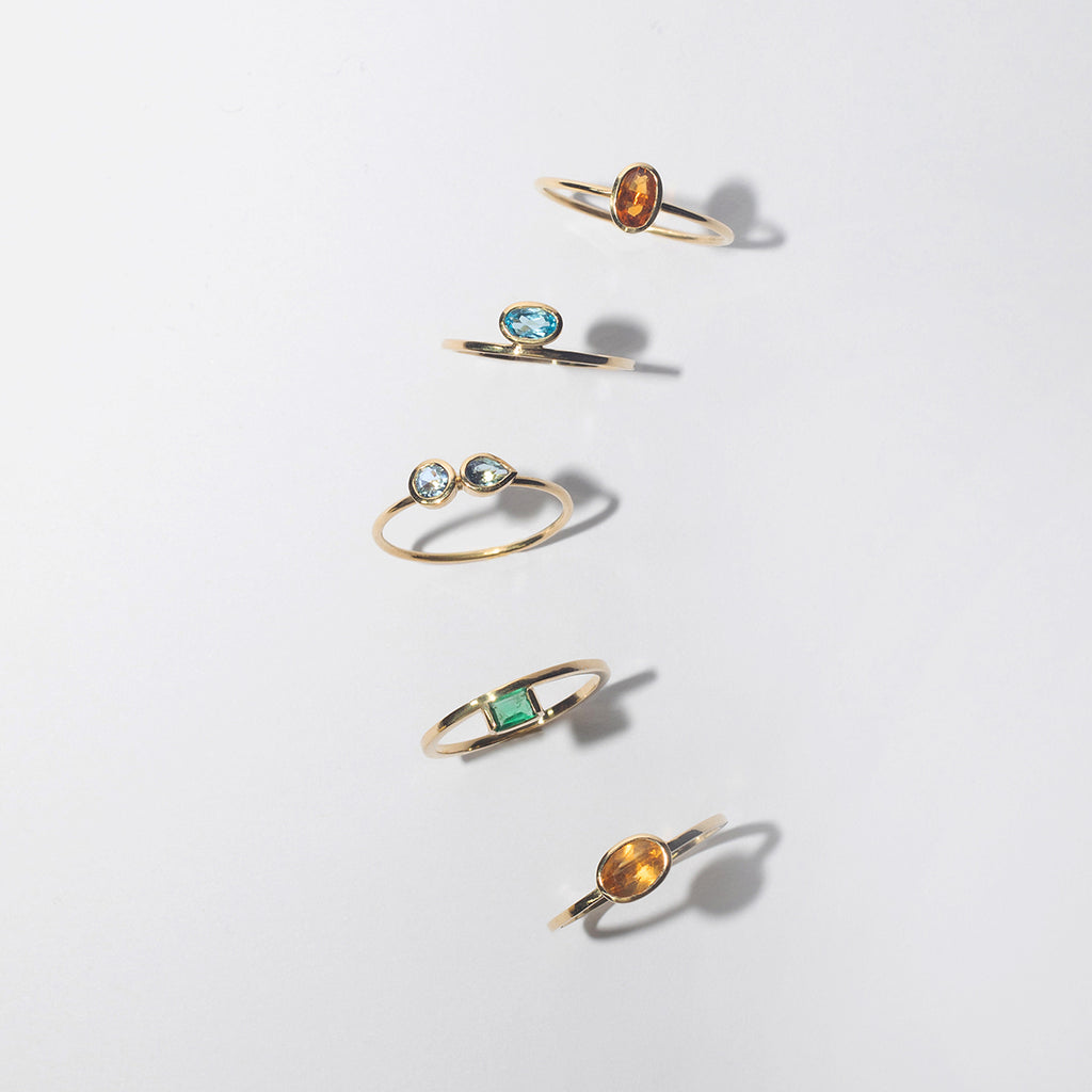 Stacking Rings - Brazilian Gemstones in recycled solid 18ct Gold by Adriana Chede Jewellery London