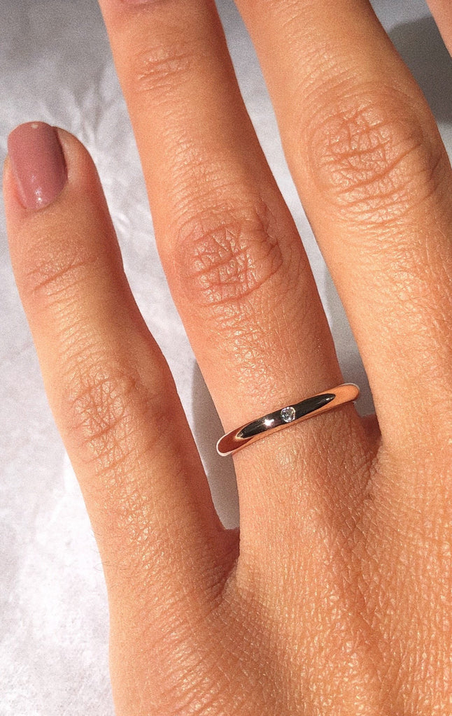 Single Diamond Rose Gold Wedding Band - Adriana Chede Jewellery