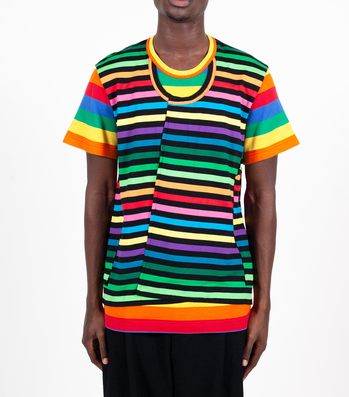 CdG Homme Plus Horizontal Stripe T-Shirt Multi Color