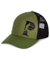 6-panel  Olive green brim cap