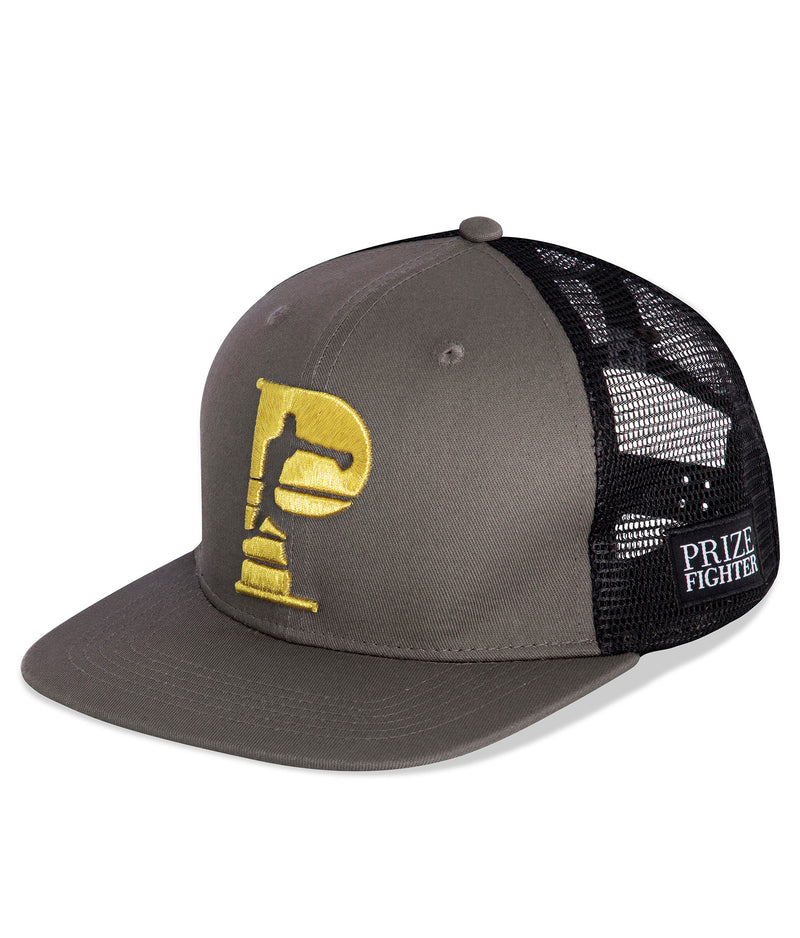 Black Flat brim trucker