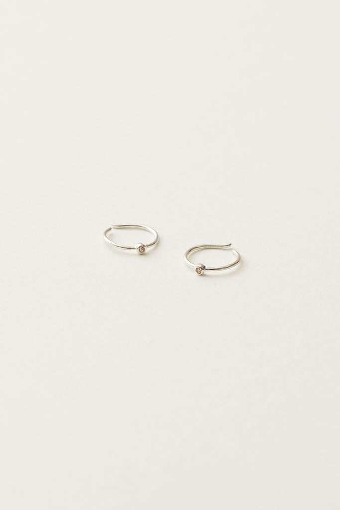 STUDIO LOMA - EDITH earring, Sterling silver with white diamond