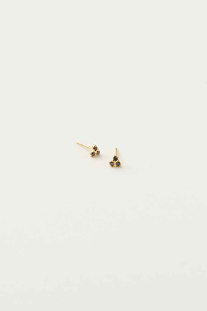 STUDIO LOMA - ELSIE earring, gold with 3 black diamonds