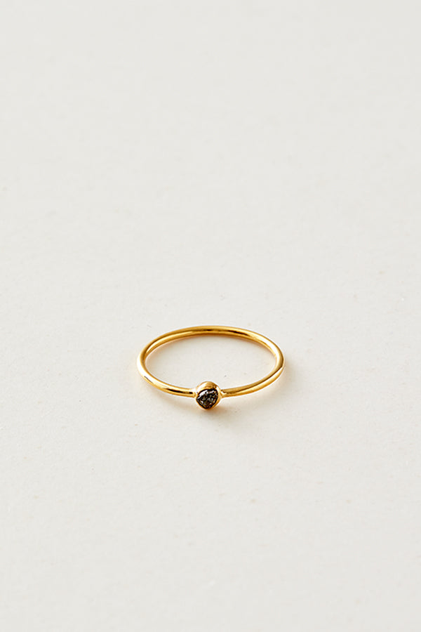 STUDIO LOMA - AVA ring, black raw diamond ring