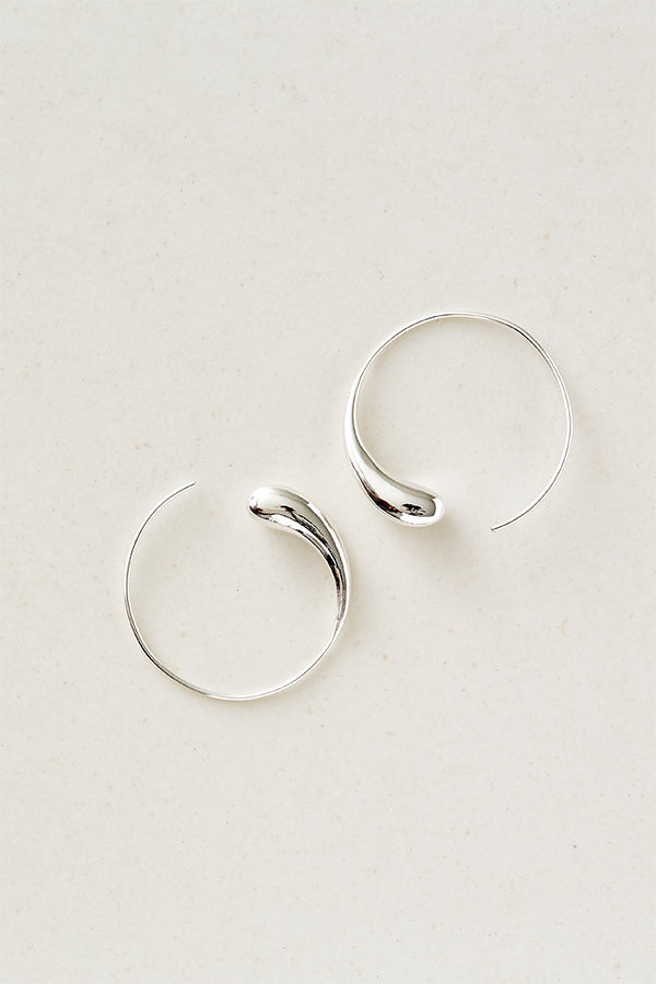 STUDIO LOMA - FLORA hoops large silver