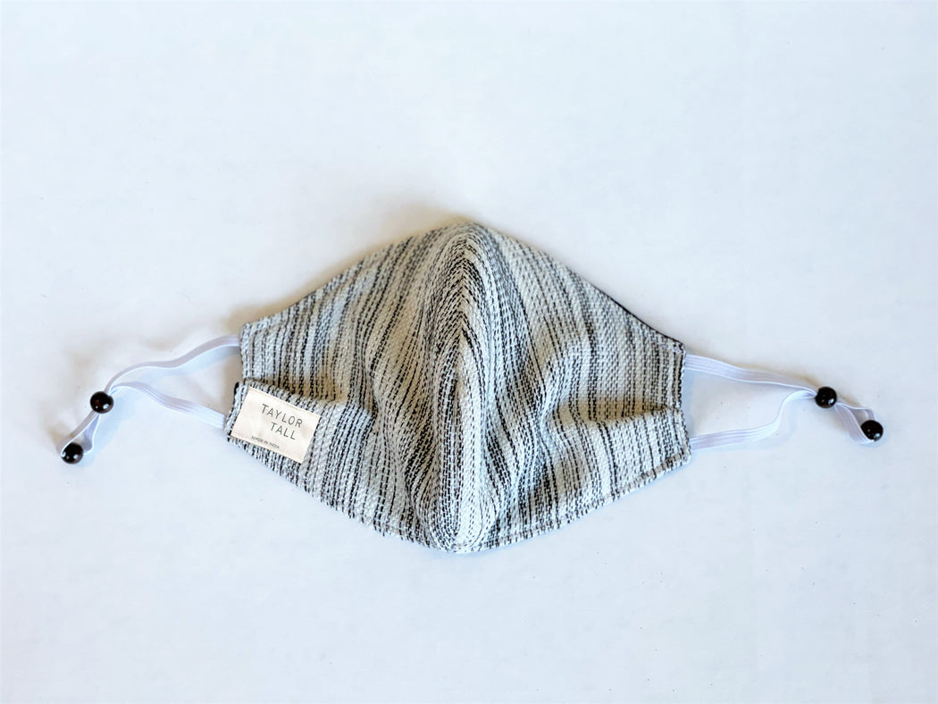 Handwoven Cotton Face Mask Cream Stripes & Blue Dobby