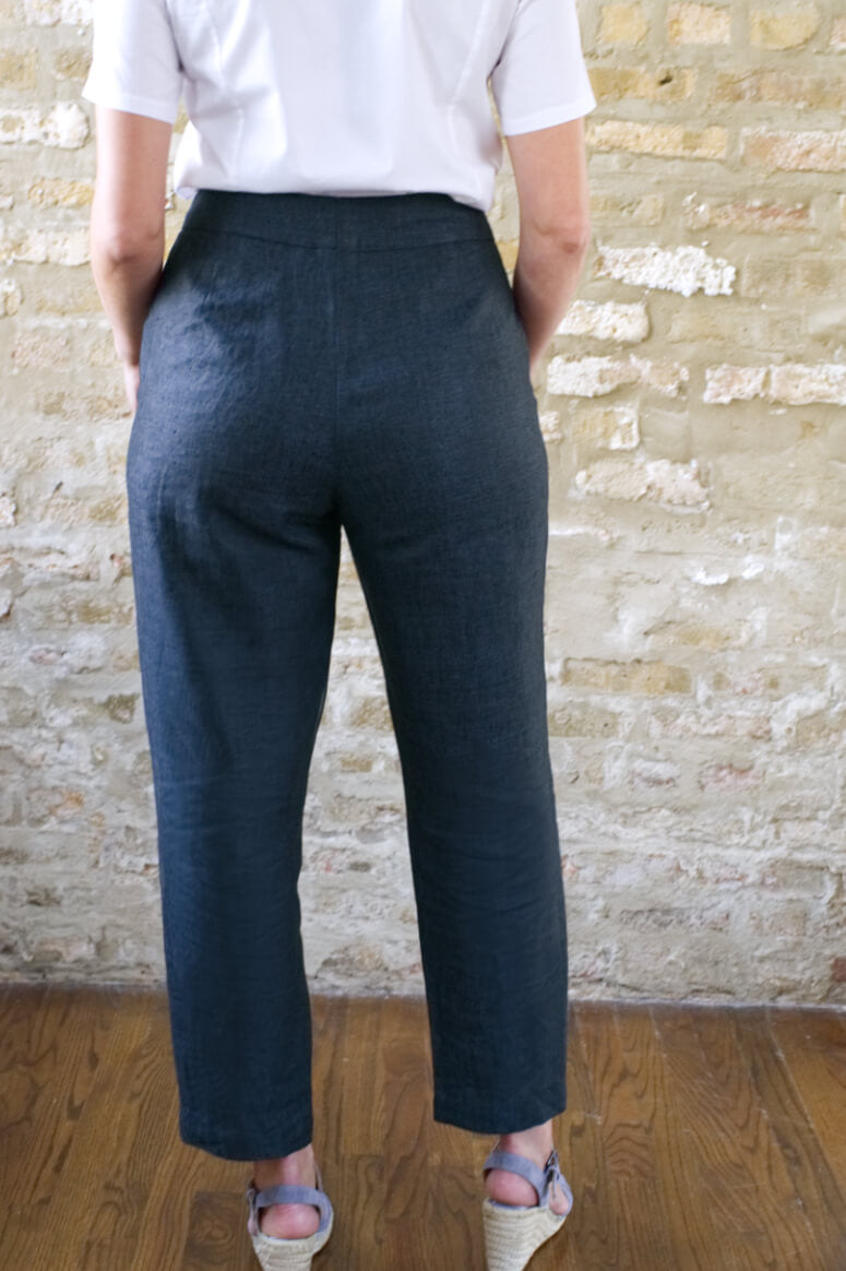 Taylor Tall back view of high rise ankle pant in midnight for tall women
