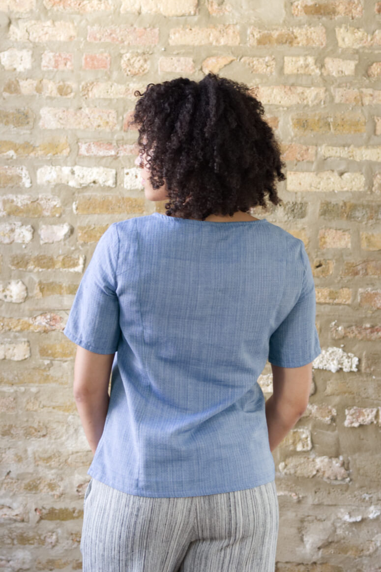 Taylor Tall back view of structured top in blue for tall women
