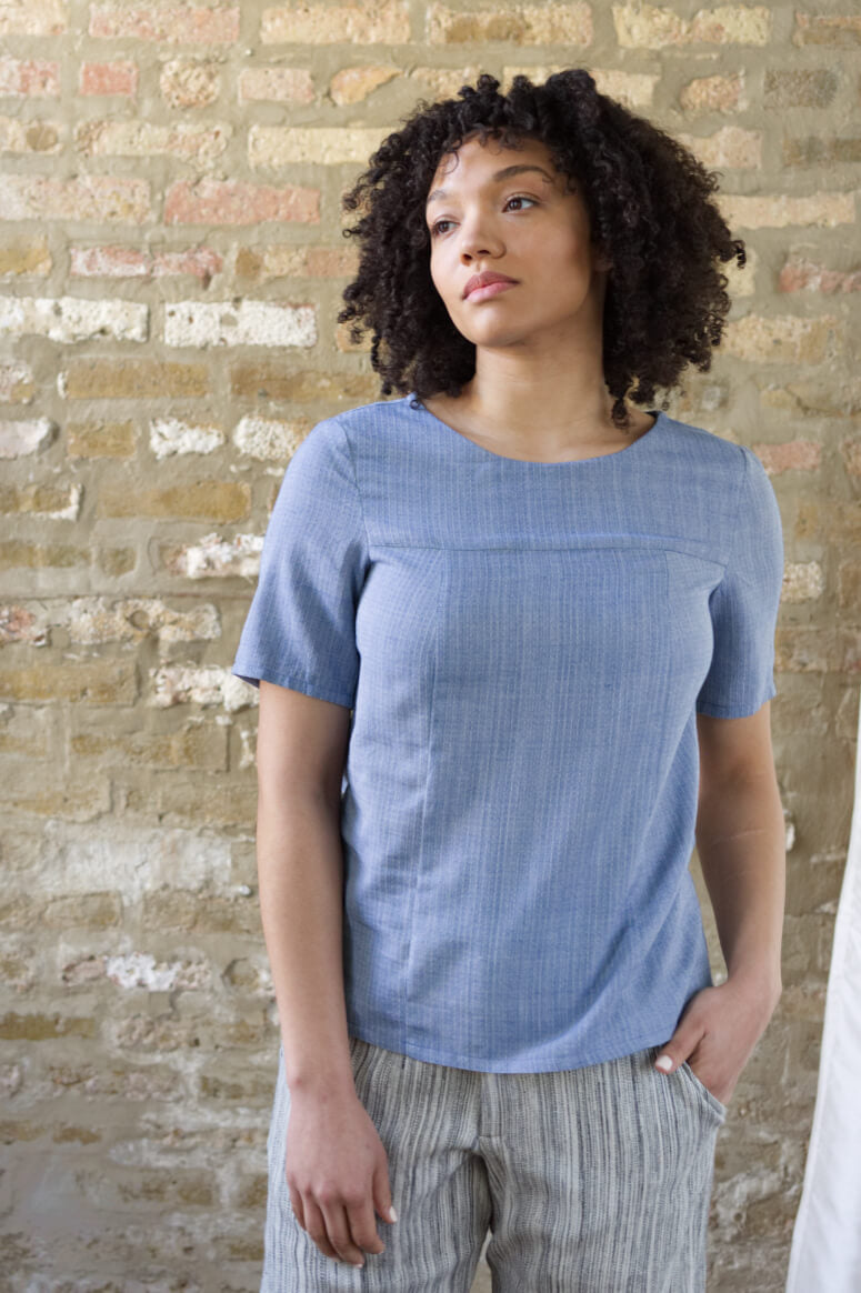 Taylor Tall front view of structured top in blue for tall women