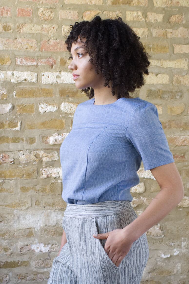 Taylor Tall side view of structured top in blue for tall women