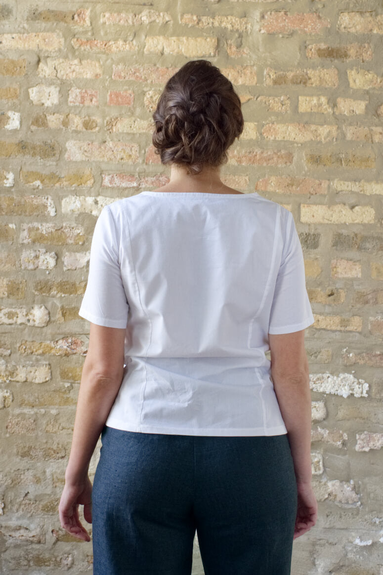 Taylor Tall back view of structured top in white for tall women
