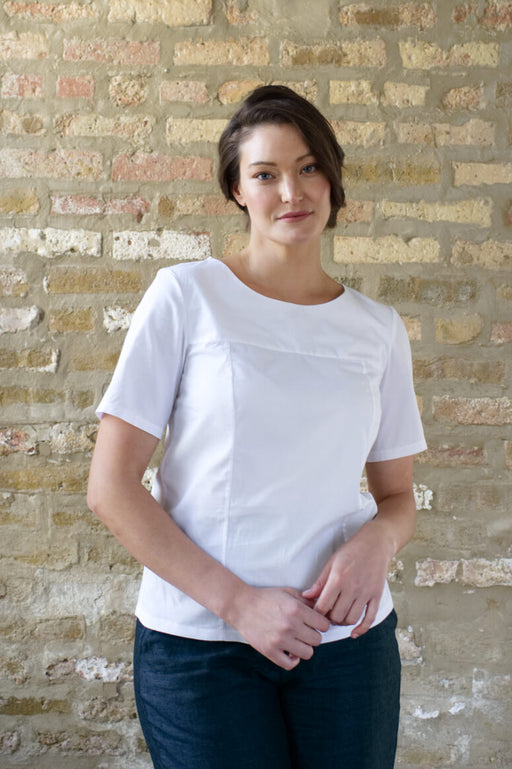 Taylor Tall front view of structured top in white for tall women