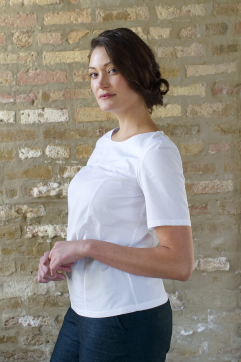 Taylor Tall side view of structured top in white for tall women