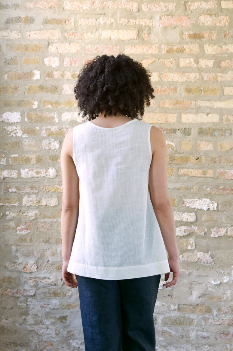 Taylor Tall back view of trapeze top in cream for tall women