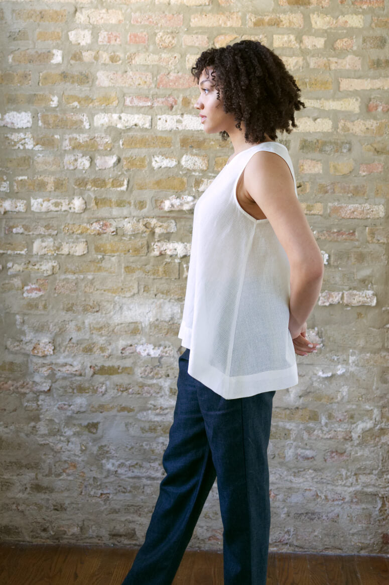 Taylor Tall side view of trapeze top in cream for tall women