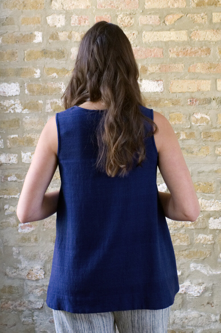 Taylor Tall back view of trapeze top in navy for tall women