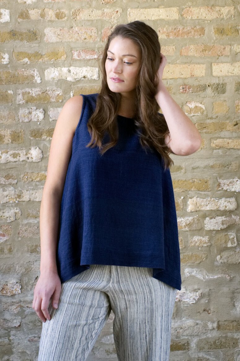 Taylor Tall front view of trapeze top in navy for tall women