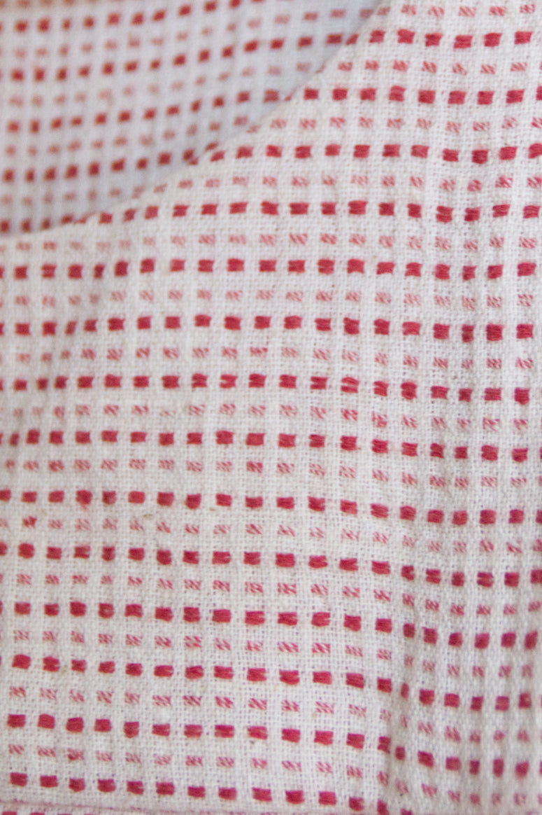 Handspun Cotton Seamed Top Red Dots