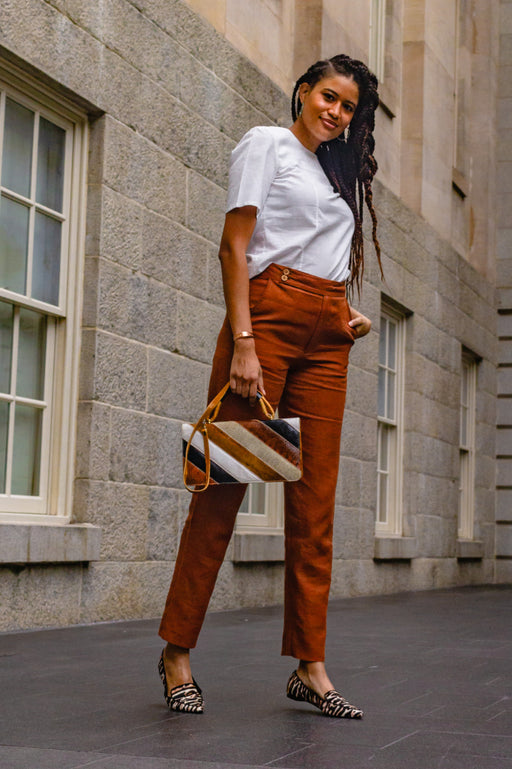Premium Linen High Rise Ankle Pant Rust
