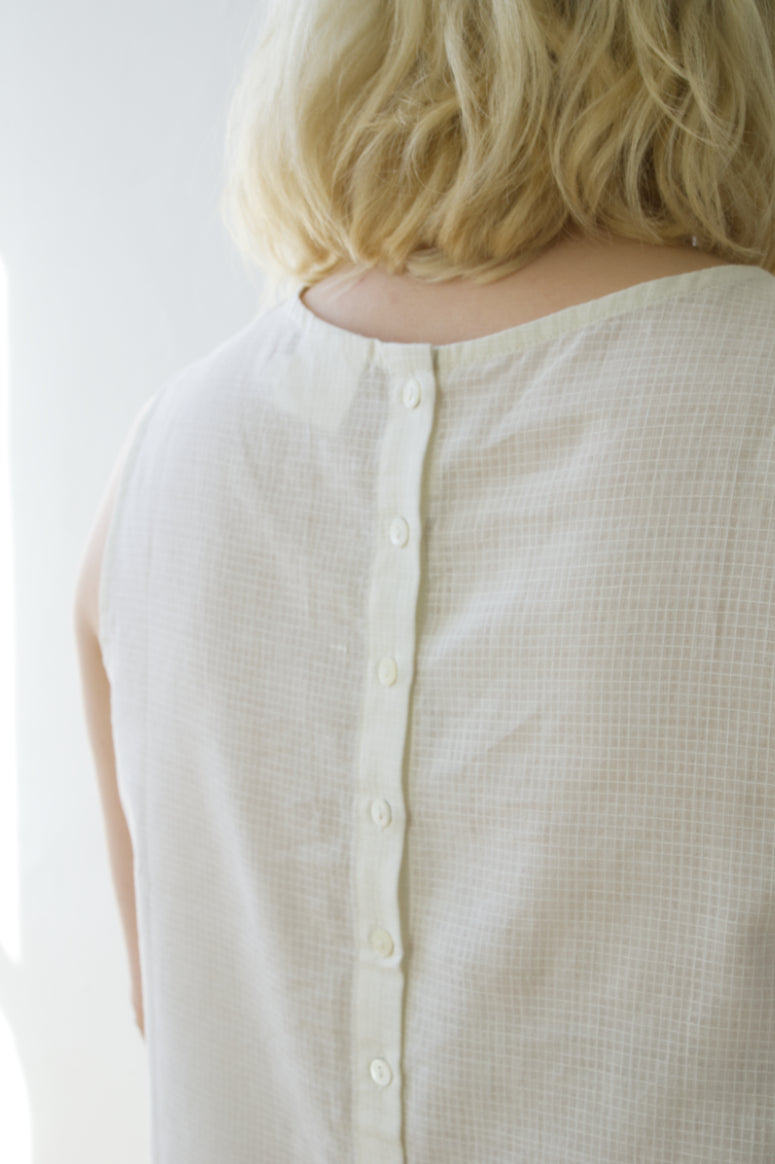 Textured Grid Cotton Button Back Top Cream