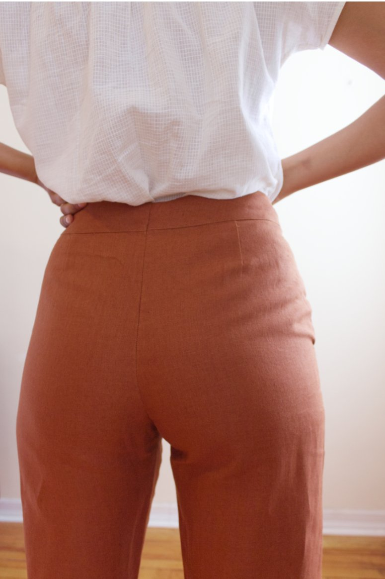 Back View of Premium Linen High Rise Ankle Pant Rust - Taylor Tall