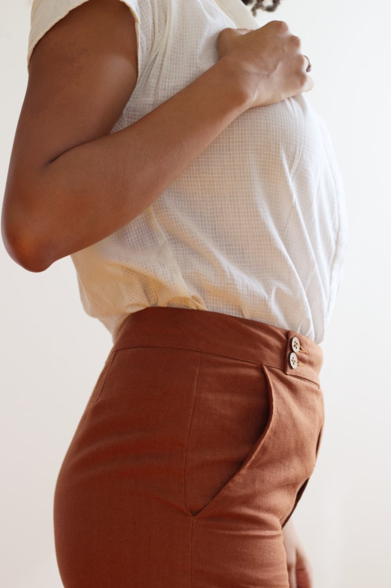 Side View of Premium Linen High Rise Ankle Pant Rust - Taylor Tall