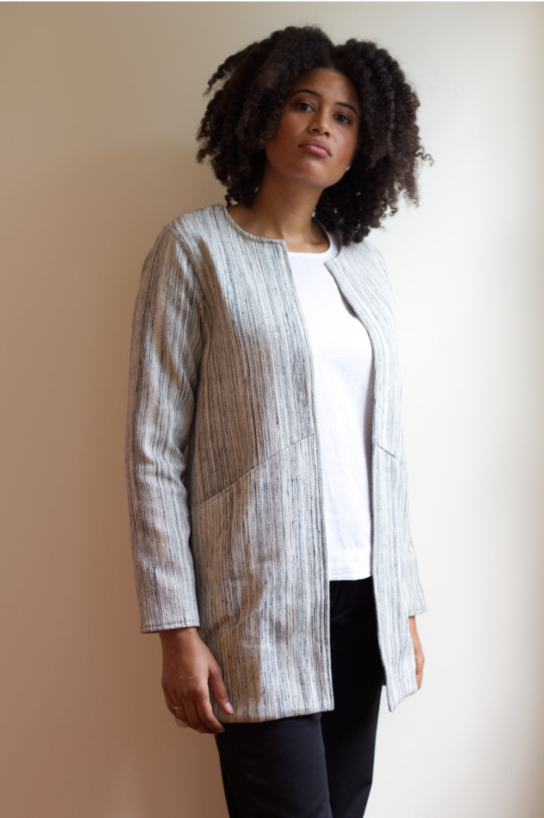 Handspun Cotton Longline Blazer Cream Stripes