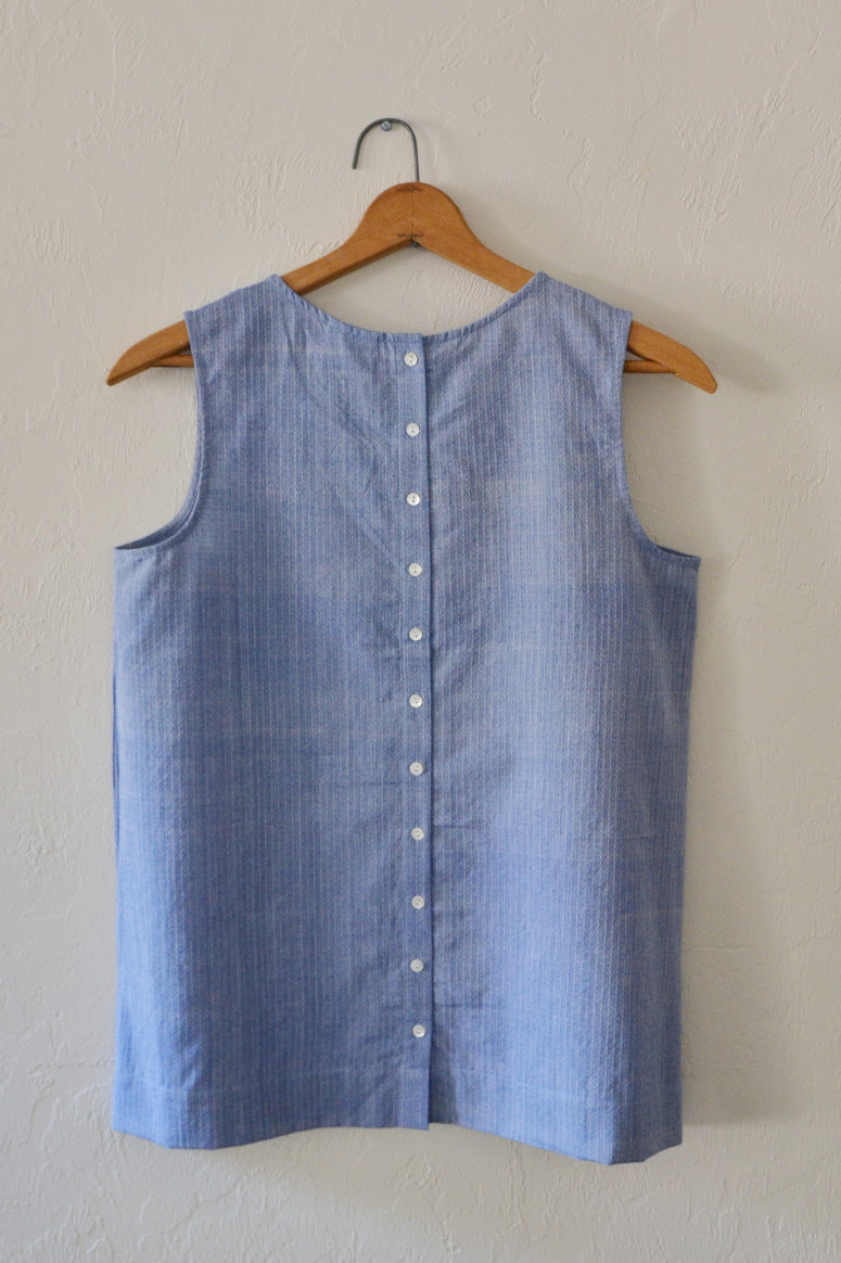Handwoven Cotton Button Back Top Oxford - SAMPLE SALE