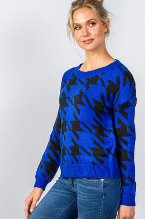 Ladies fashion round neckline geo print color block knit sweater - Radiant