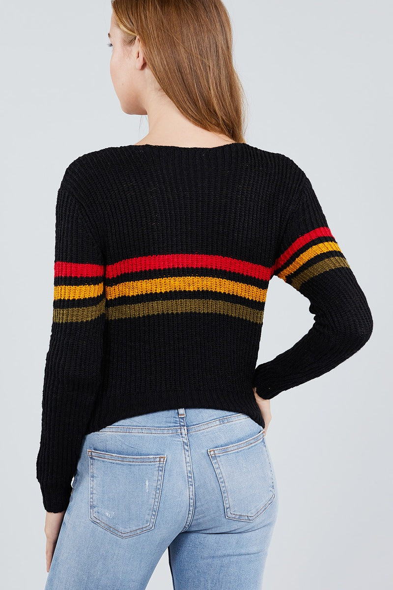 Long Sleeve V-neck Multi Stripe Crop Sweater - Radiant