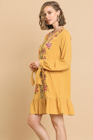 Floral Embroidered Long Sleeve V-neck Ruffle Hem Dress With Sleeve Ties And Crochet Details - Radiant