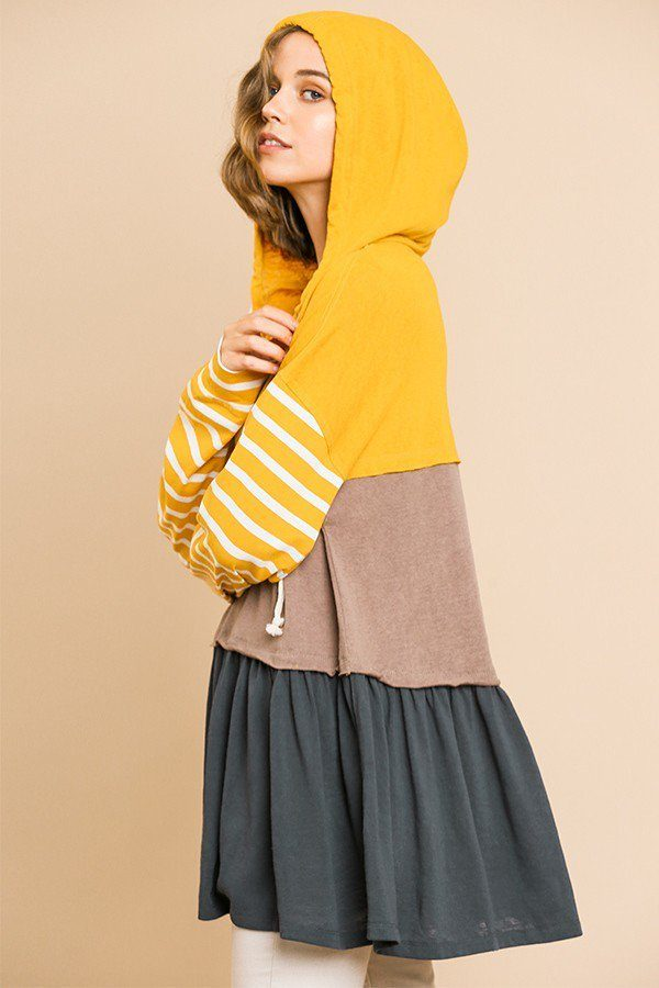 Striped Long Sleeve Color Blocked Hooded Tunic With Drawstring And Ruffle Hem - Radiant