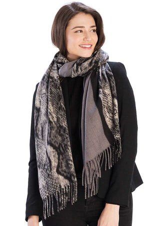 Half Solid And Half Python Pattern Scarf - Radiant
