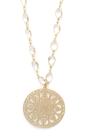 Filigree Circle Teardrop Shape Necklace - Radiant