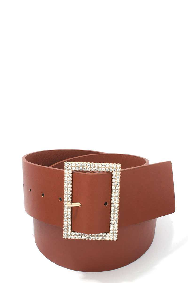 Rhinestone Buckle Pu Leather Belt - Radiant