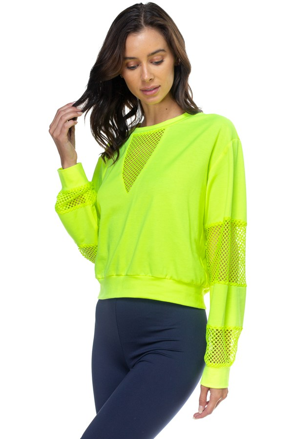 Mesh Long Sleeve Pullover Sweater - Radiant