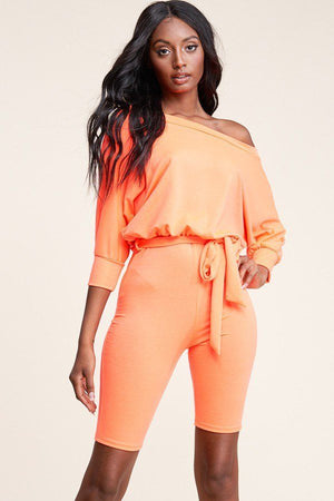 Slouchy Solid French Terry 3/4 Sleeve Romper - Radiant