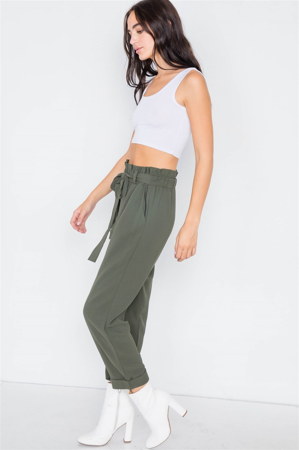 Dark Olive Office Chic Ankle Length Dress Pants - Radiant