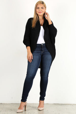 PLUS SIZE OPEN COCOON CARDIGAN