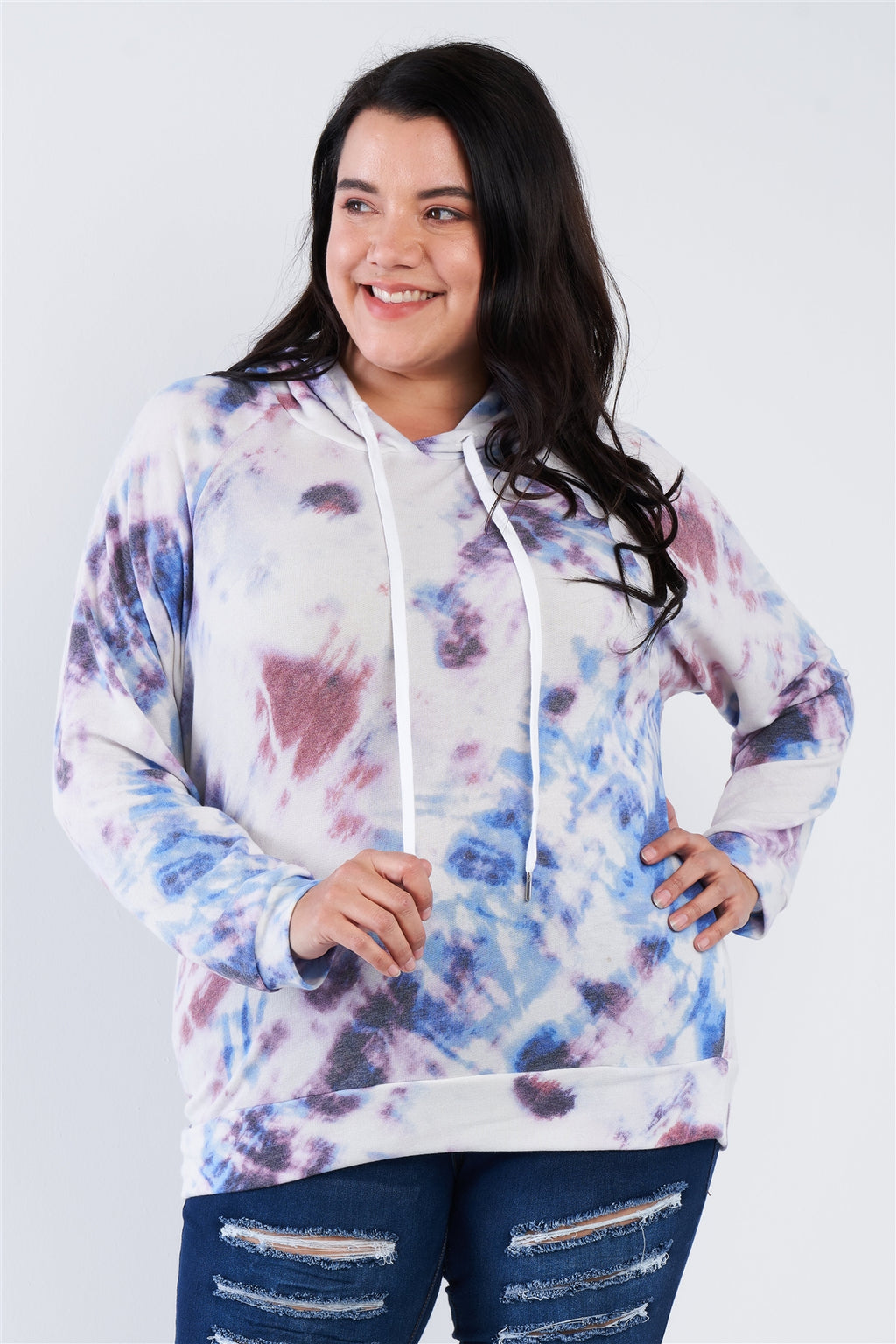 Sale -  PLUS SIZE TIE DYE HOODIE SWEATER