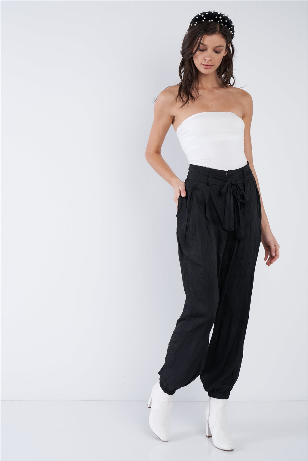Sale -  CRUSHED SATIN CINCHED PANTS