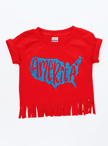 Red T-Shirt with Blue Sparkly America Logo and Cut-off fringed edge