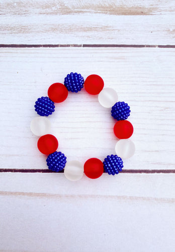 Red White and Blue Bead Bracelet