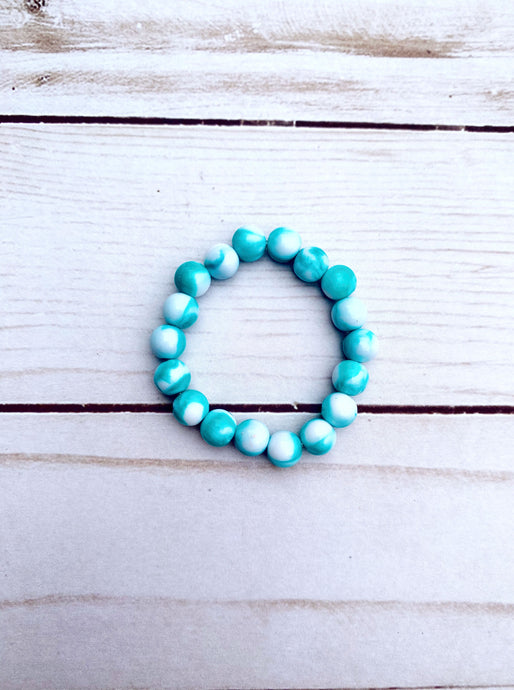 Teal and White Marble Pattern Bead Bracelet