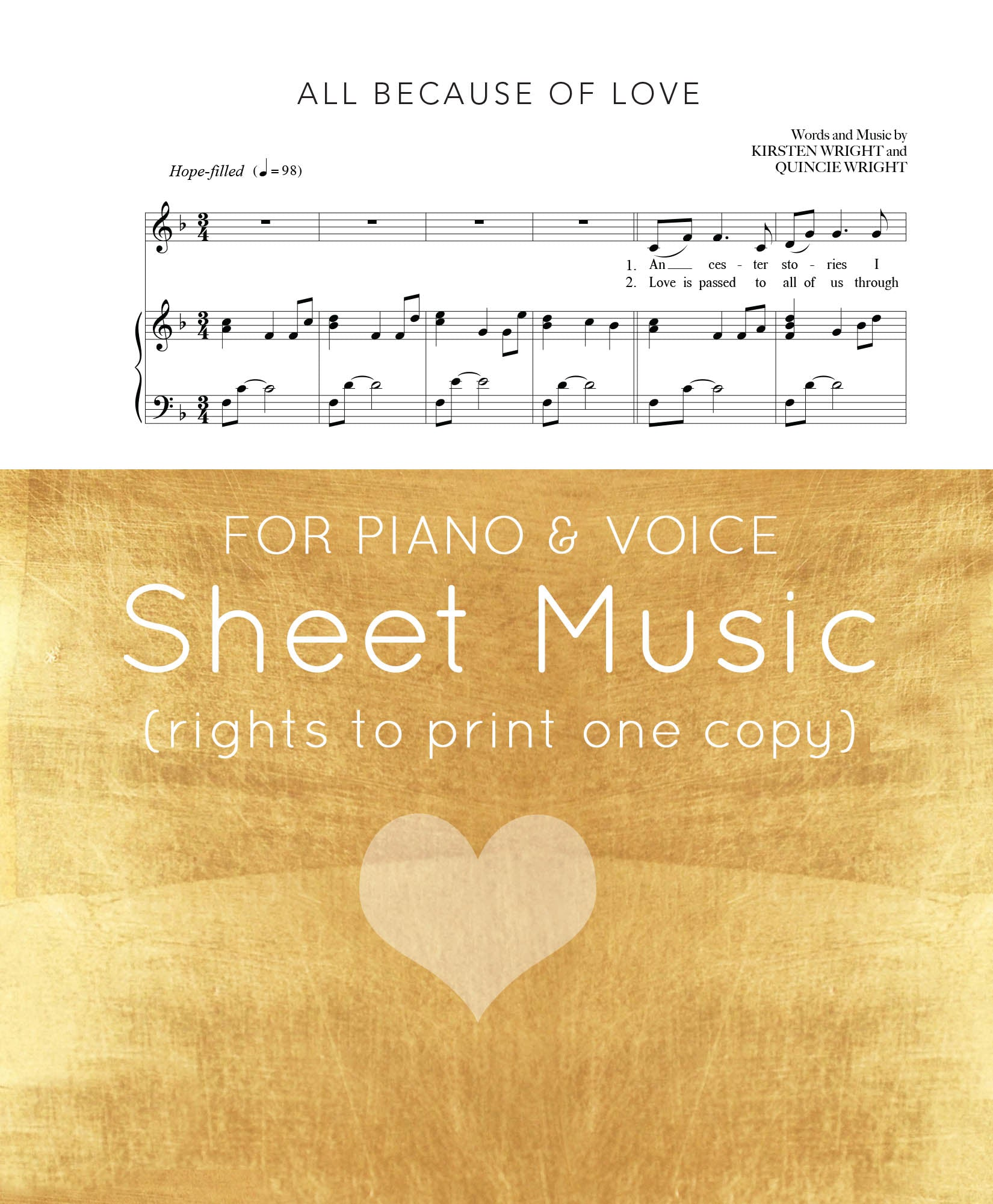 """ALL BECAUSE OF LOVE"" sheet music (PIANO)"