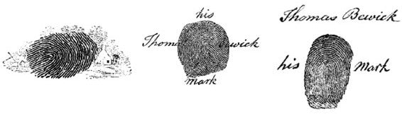 Bewick's published fingermarks