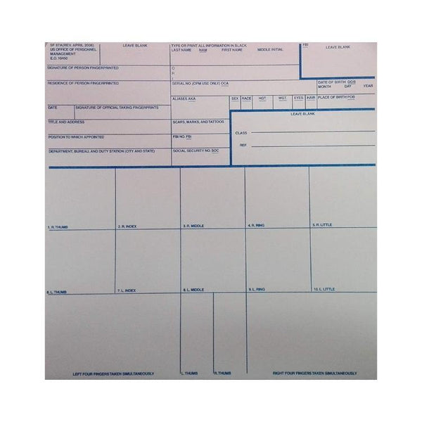 Fingerprinting Cards, Standard Form 87A (SF-87A)