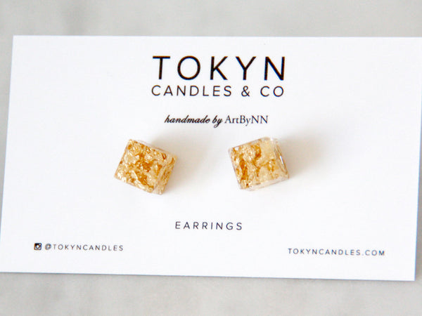 Botanical Gold leaf Cube Earrings